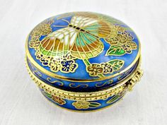 Vintage Small Brass Trinket Box, Cobalt Blue Chinese Cloisonne Enamel Trinket Box, Asian Chinese Dragon Art, 1960s Chinese Asian Home Decor by RedGarnetVintage