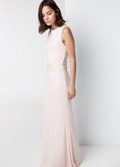 Lace Panel Gown - Pale Blush Pink Bridesmaid Dress