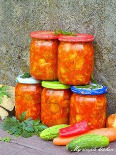 My simple kitchen: Pomidorowa sałatka z ogórków Salsa, Jar, Stuffed Peppers, Vegetables, Ethnic Recipes, Food, Salsa Music, Restaurant Salsa, Jars