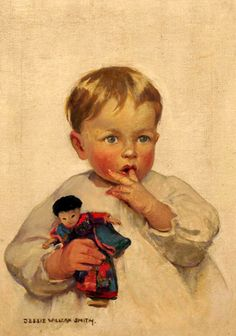 Young Child Holding A Chinese Doll-Jessie Willcox Smith (1863 – 1935, American)