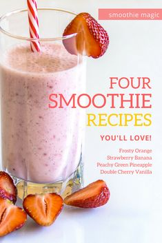 Four simple smoothie recipes you are sure to love. For a tasty, protein packed breakfast or a sweet snack, these are sure to satisfy your taste buds. Easy Smoothie Recipes, Easy Smoothies, Smoothie Ingredients, Nutribullet Recipes, Blender Recipes, Breakfast Smoothies, Juice Recipes, Fruit Recipes, Brunch Recipes