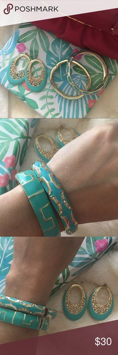 Set of 3 Pieces of Enamel Jewelry Set contains 2 hinged enamel bangle and 1 matching pair of earrings. Never worn. Beautiful! Gold tone with turquoise tone enamel finishing. Fornash Jewelry Bracelets