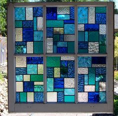 Blues Large Reclaimed Wood Window by DebsGlassArt on Etsy