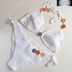 Crochet bikini set, White bikini top & bikini bottom, Crochet swimwear, Beach clothes, Gift for her