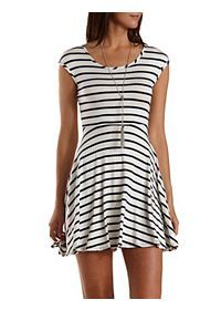 Cinched-Back Striped Skater Dress