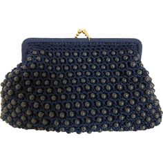 1950's Navy Blue Plastic Beaded Clutch Purse