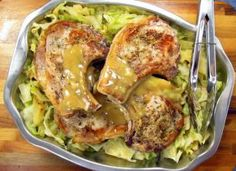 20-minute Pressure Cooker Pork Chops and Cabbage The recipe on this platter has almost no prep work and is all cooked together in the pressure cooker. It will only take 20 minutes minutes start to finish