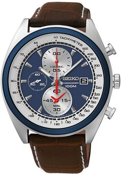 Seiko Chronograph Blue Dial Brown Leather Strap Mens Watch