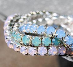 Swarovski Crystal Bracelets - Set of Three, Stacker Bracelets - Light Blue Opal, Seafoam Opal, Light Pink Opal Rhinestone Stretch Bracelet