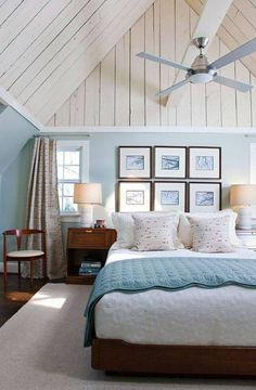 Bedroom , Fresh Coastal Bedroom Ideas : Coastal Bedroom Ideas With Wall Hanging Pictures And Fan Lighting And Vaulted Ceiling And Turquiose Walls