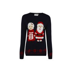 George Mr and Mrs Claus Christmas Jumper ($21) ❤ liked on Polyvore featuring tops, sweaters, navy, crewneck sweater, long sleeve sweaters, print sweater, long sleeve tops y long sleeve crew neck sweater