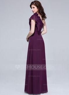 8f74bb14dd99ed A-Line/Princess One-Shoulder Floor-Length Chiffon Bridesmaid Dress With  Beading