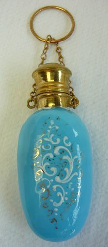 Antique Blue Glass & Enamel Perfume Scent Bottle Chatelaine #D-24 | eBay
