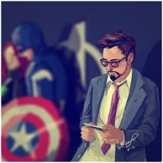 Tony Stark busy handling the Avengers' PR, politics and everything else while…
