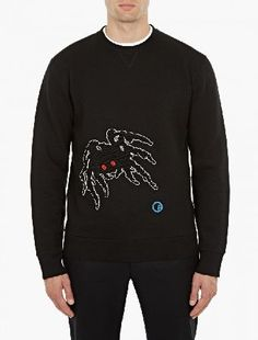 Lanvin Black Textured Spider Sweatshirt The Lanvin Textured Spider Sweatshirt for AW16, seen here in black. - - - Crafted in Italy from a unique lightweight neoprene-effect fabric, this relaxed sweater from Lanvin features a distinctive spi http://www.MightGet.com/january-2017-13/lanvin-black-textured-spider-sweatshirt.asp