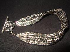 Silver Hex Herringbone bracelet by AtouchofElegance03 on Etsy,