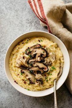 Cauliflower Polenta with Sauteed Mushrooms by /healthynibs/