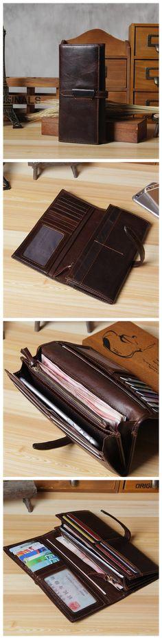 Itslife Women's Genuine Leather Long Tri-fold Wallet
