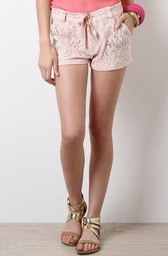unique pink lace shorts