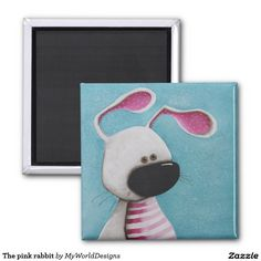 The pink rabbit 2 inch square magnet