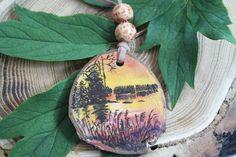 Sunset on Lake Tree Slice Necklace by ArtfullyReDesigned on Etsy, $20.00