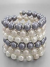 Gray and White Pearl Bead Cuff Bracelet