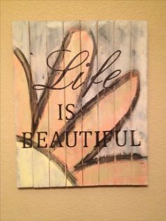 Pallet Sign or I could do this on old paneling and put it in a frame found at yard sale ~Kitty~