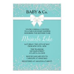 Baby & Co. Tiffany And Co, Tiffany Blue, Baby Shower Invitations, Party Invitations, Tiffany Baby Showers, Baby Co, Raffle Tickets, Teal Blue, Rsvp