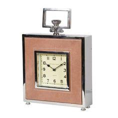 Modern Nickel & Leather Square Mantel Clock