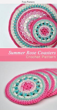 Summer Rose Coasters Crochet Free Pattern