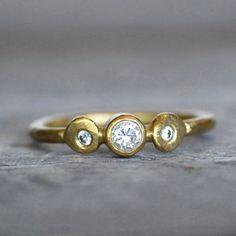 Diamond and Gold Lotus Wedding Ring  18k Gold by LilianGinebra, $779.00