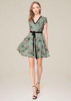 Bebe Women's Open Crossback Flared Dress, Size 12, Floral