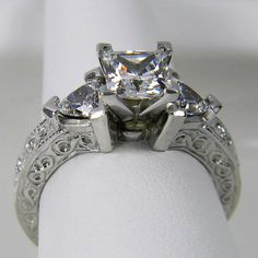 Princess Cut and Trillion Antique Carved Design 3 Stone Engagement Ring in SOLID 14K Gold