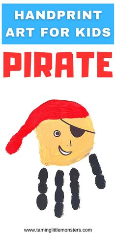 Check out this adorable pirate handprint art for kids. Your toddler or preschooler will love giving this painting as a gift or card to someone who is argh-mazing. #artsandcrafts #pirate #toddler #preschool Diy Projects For Kids, Crafts To Make, Art Projects, Crafts For Kids, Teaching Calendar, Pirate Art, Easy Arts And Crafts, Educational Crafts, Handprint Art