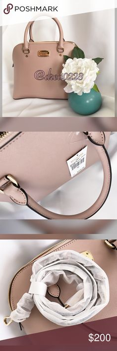 "🌷Michael Kors Cindy Satchel Brand new with tags.  AUTHENTIC! Color is Pink BALLET Genuine saffiano leather MK logo on the front Double handles with 5""drop and removable/adjustable strap w/ 17""-19"" drop for shoulder or cross body wear Bottom feet protection Gold tone hardware Interior features 1 zip pocket, 3 slip pockets,cell phone pocket  11'' L x 9"" H x 4.5"" D Michael Kors Bags Satchels"