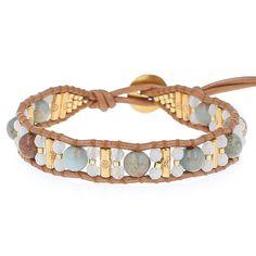 Aqua Terra Gold Single Wrap Bracelet on Bronze Leather - Chan Luu