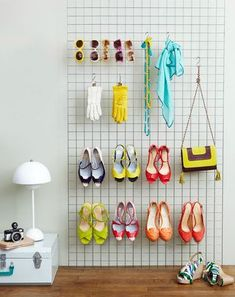 grid wall organization. You can find these grid walls at store supply warehouses in most larger cities. For shoes, scarves, jewelry, purses etc!