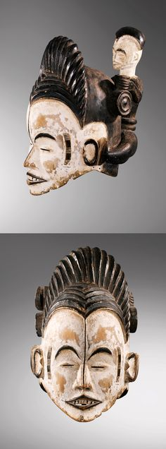 """Africa   """"Eze nmwaye"""" helmet mask from the Igbo people of Nigeria   wood, kaolin and pigment    This type of mask is specific to the Izzi group, who live in the north-east of the Igbo country."""