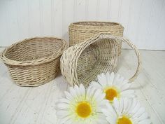 Vintage Oval Winter White Woven Wicker Basket Trio - Wedding Attendant Floral Arrangement Size - Shabby Cottage Style Decor Set of 3 Baskets $39.00 by DivineOrders