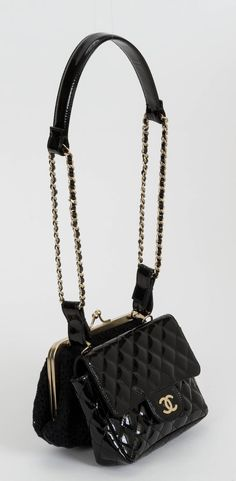 2aad75fe6d90 Chanel Black Lace   Patent Double Bag Black Quilt