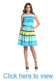 Vince Camuto Women's Sleeveless Variegated Stripe Dress