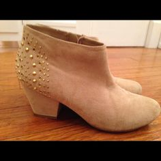 Studded heeled boots Faux suede heeled boots with gold studs on the heel Forever 21 Shoes Ankle Boots & Booties