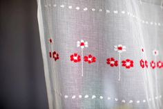 Vintage fabirc white gauzy gauze open weave netting dotted swiss with embroidered red white flowers & pedals by JubileeStreet on Etsy https://www.etsy.com/listing/461860086/vintage-fabirc-white-gauzy-gauze-open