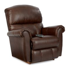 La-Z-Boy Briggs Leather Recliner Upholstery: Tobacco, Reclining Type: Manual Recline, Motion Type: Rocker Boys Bedroom Furniture, Rustic Living Room Furniture, Furniture Sets, Furniture Design, Studio Furniture, Leather Recliner Chair, Glider Chair, Chair Cushions, Wood