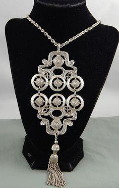 Vintage Etruscan Revival Couture Pendant Tassel Necklace Huge Piece