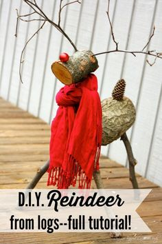 THIS IS SO CUTE! A reindeer made from tree branches! Check out this full tutorial on how to make a Christmas reindeer by Designer Trapped in a Lawyer's Body!