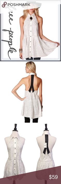 NWT Free People Tuxedo Mini Dress Tunic ➖NWT ➖BRAND: Free People ➖SIZE: XS  ➖STYLE: A white and black tuxedo style dress with an open back   ❌NO TRADE  435409 a lined Free People Tops Tunics