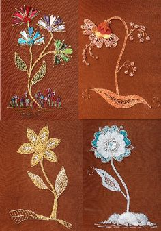 Loving the way Jacobean designs are used with Goldwork and silk