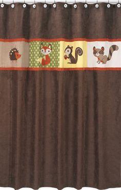 Woodland Forest Animals Kids Fabric Bath Shower Curtain by Sweet Jojo Designs