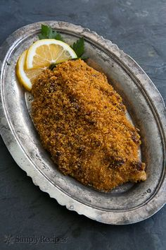 Baked Tilapia with Sun-dried Tomato Parmesan Crust ~ Easy baked tilapia fillets with sun-dried tomato, Parmesan, breadcrumb crust, and optional berry sauce. ~ SimplyRecipes.com